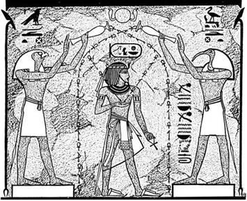 faraon cu horus si thoth